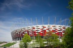 WARSZAWA - APRIL 29: Konstruktionsplats av Polen medborgare Stadiu Royaltyfri Bild