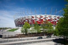 WARSZAWA - APRIL 29: Konstruktionsplats av Polen medborgare Stadiu Royaltyfri Fotografi