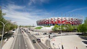 WARSZAWA - APRIL 29: Konstruktionsplats av Polen nationella stadion Royaltyfria Bilder