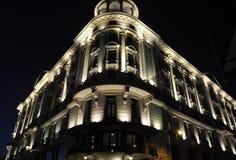 Warszawa Augusti 20,2014 - byggnad vid natt från Warszawa i Polen Arkivbilder