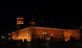Warszawa Augusti 20,2014 - historisk byggnad vid natt från Warszawa i Polen Fotografering för Bildbyråer
