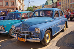 Warszawa car. Vintage car Warszawa in blue color showing in Lublin Stock Images