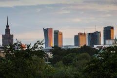 Warszawa för solnedgång, Arkivfoto