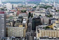Warszawa från över royaltyfria bilder