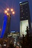 Warszawa góruje przy nocą Zdjęcie Stock
