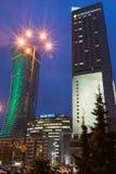 Warszawa góruje przy nocą Zdjęcia Stock