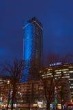 Warszawa góruje przy nocą Fotografia Royalty Free