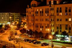 Warszawa på natten. Arkivfoto
