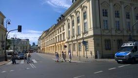 Warszawa. Pedestrians crossing the street in central Warszawa Stock Photos