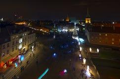 Warszawa, Poland, Europe, Grudzień 2018, stary rynek przy nocą obrazy royalty free