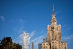 WARSZAWA POLAND/EUROPE - SEPTEMBER 17: Slott av kultur och Sci Royaltyfria Bilder
