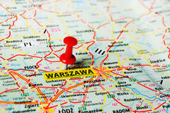 Warszawa ,Poland map. Close up of Warsaw , Poland map with red pin royalty free stock photos