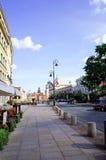 Warszawa Polen - Augusti 1: Gata för turister på fötter i Warszawa, P Royaltyfri Fotografi