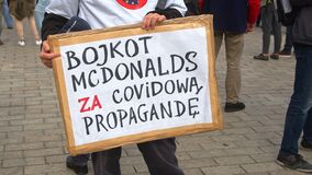 Warsaw, Poland 10.10.2020 - Anticovid freedom march - protester holding sign Boykott McDonalds