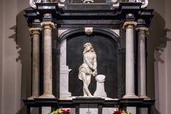 WARSZAWA POLEN - JANUARI 01, 2016: Sidoaltare av det gotiska roman - katolikSt John ` s Archcathedral arkivfoto