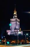 Warszawa Polen - mars 28, 2016: Slotten av kultur och vetenskap Polermedel: Palac Kultury I Nauki, också förkortade PKiN royaltyfria foton