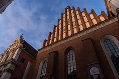 WARSZAWA POLEN - November, 2017: Är den historiska gamla staden för Warszawa` s den enda återställda staden som inskrivas på arve Royaltyfri Bild
