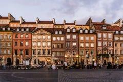 WARSZAWA POLEN - November, 2017: Är den historiska gamla staden för Warszawa` s den enda återställda staden som inskrivas på arve Fotografering för Bildbyråer