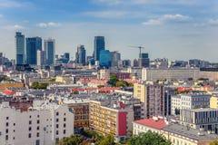 Warszawa/Polen - 09 02 2016: Sikt på centrumområdet Royaltyfria Bilder
