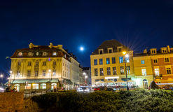 Warszawa, Polska †'Sierpień 4, 2017: Stara ulica w Warszawa przy nocą w starym miasteczku w świetle lampionów Obraz Royalty Free