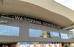 Warszawa Polska, Grudzień, - 08, 2016: Podpis Warszawska Środkowa stacja kolejowa Zdjęcia Royalty Free