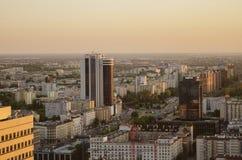 WARSZAWA, POLSKA - JMAY 22, 2018 Powietrzny trutnia widok od above zdjęcie stock