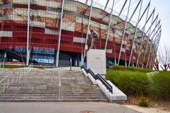 Warszawa Polska, Kwiecień, - 09, 2016: Statua legendarny Polski terener baseballa Kazimierz Gorski umieszczający blisko do Fotografia Royalty Free