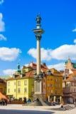 WARSZAWA POLSKA, KWIECIEŃ, - 21, 2016: Widok kasztelu kwadrat z Sigismund kolumną w Starym miasteczku w Warszawa, Polska Obrazy Stock