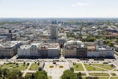 Warszawa, Polska, Lipiec 21 2016: Widok z lotu ptaka centrum miasta i miastowy okręg Obrazy Stock