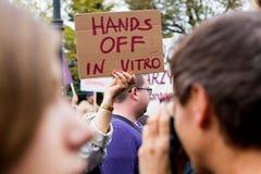Warszawa, Polska, 2016 10 01 - protestuje przeciw antyaborcyjnemu prawu f Zdjęcie Stock