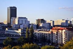 Warszawa, Polska 11 2016 Sierpień Widok nowożytni drapacze chmur w centrum miasta Warszawska linia horyzontu Zdjęcia Royalty Free