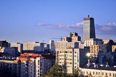 Warszawa, Polska 11 2016 Sierpień Widok nowożytni drapacze chmur w centrum miasta Warszawska linia horyzontu Zdjęcia Stock
