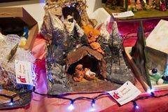 WARSZAWA POLSKA, STYCZEŃ, - 01, 2016: Bożenarodzeniowa narodzenie jezusa scena Obrazy Royalty Free