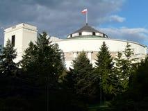 WARSZAWA Sejm Parlamentbyggnad i Warszawa, Polen arkivfoto