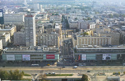 Warszawa - September 12, 2014 beskåda från taklägga Arkivbild