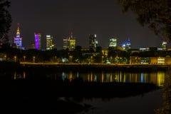 Warszawa vid natt, Polen Royaltyfri Fotografi