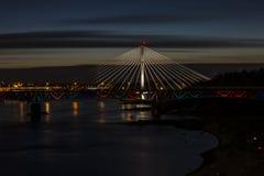 Warszawa vid natt, Polen Arkivbild