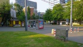 Warszawa. View on Bus stop in Warszawa Royalty Free Stock Image