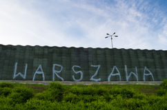 Warszawa writing on the wall. Graffiti captured on the wall in Warsaw Royalty Free Stock Photography