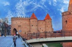 Warszawafästningen var ett system av befästningar som byggdes i Warszawa, Polen under det 19th århundradet Arkivbild