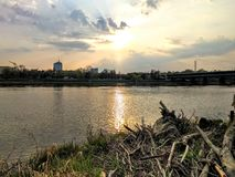 Warszawaflod Royaltyfri Foto