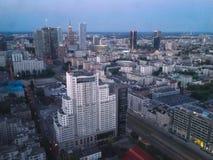 Warszawahorisont från det 40th golvet Arkivbild