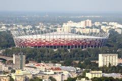 Warszawapanorama med nationell stadion royaltyfri bild
