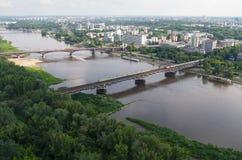 Warszawapanorama, Wisła flod, broar Royaltyfria Foton
