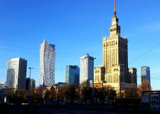Warszawastad Polen Arkivfoto