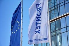 Warszawska iglica Frontex budynek Szyldowy ` Frontex ` biuro obrazy stock