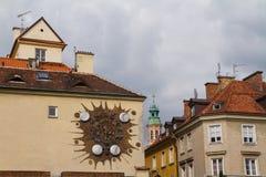 Warszawski antyczny zegar z zodiaków znakami Obrazy Stock
