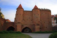 Warszawski Polska - Stary miasteczko, barbakanu status od 2018 zdjęcie royalty free