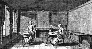 Warsztatów koronkowi producenci ilustracja wektor