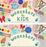 Warsztat: handmade i kreatywnie proces dla dzieci sztandary również zwrócić corel ilustracji wektora ilustracji